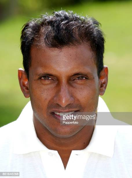 A portrait of Aravinda De Silva of Sri Lanka taken prior to the Sri Lanka tour of England on 23 April 2002 in London England