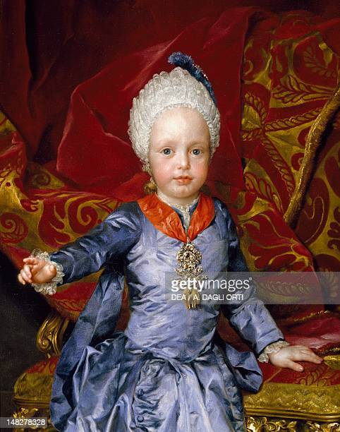 Portrait of Archduke Francis of Austria later Emperor Francis I by Anton Raphael Mengs oil on canvas 144x97 cm Detail of the figure of the infant...