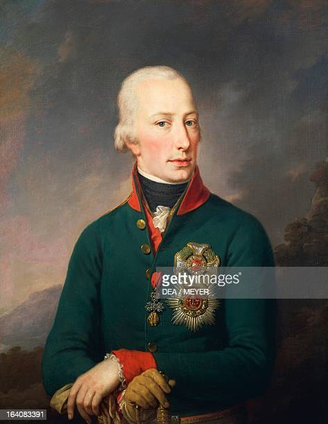 Portrait of Archduke Franz Karl of Austria , Roman Emperor and Emperor of Austria as Francis II. Painting by Giovan Battista Lampi the Younger ....