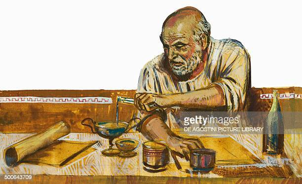 Portrait of Archimedes mathematician and physicist illustration