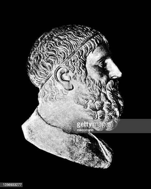 portrait of archimedes of syracuse, ancient greek mathematician, physicist and engineer - archimedes stock pictures, royalty-free photos & images
