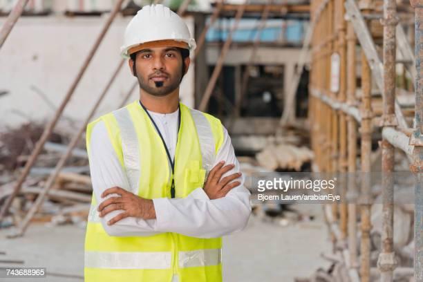 Portrait of architect at construction site.,Portrait of architect at construction site.