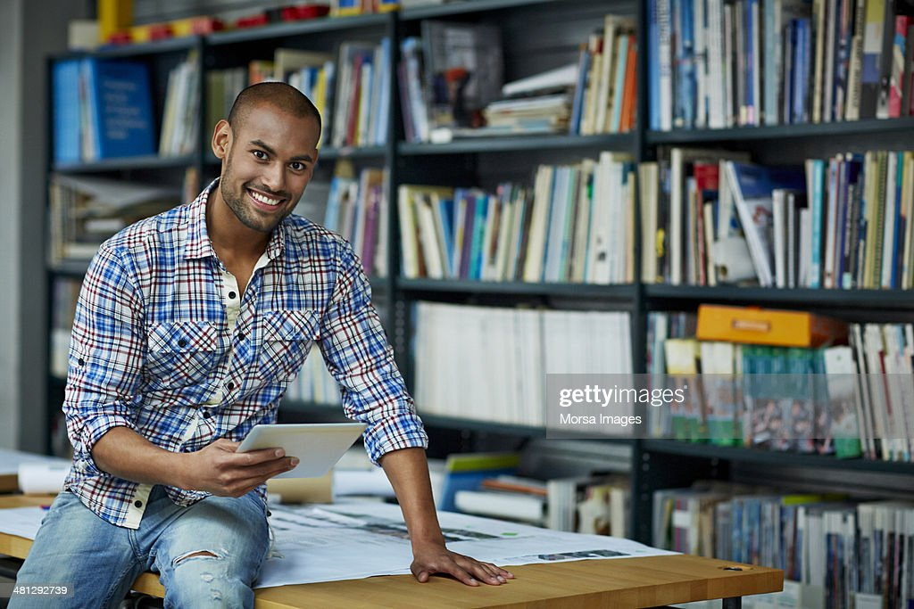 Portrait of architect with digital tablet : Stock Photo