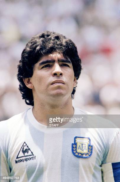 Portrait of Argentina's midfielder Diego Maradona taken on June 29, 1986 in Mexico City before the start of the World Cup final between Argentina and...