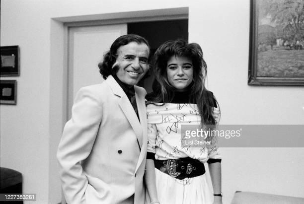 Portrait of Argentinean politician Governor of La Rioja Carlos Menem and his daughter Zulema Maria Eva Menem Argentina 1988 During his presidential...