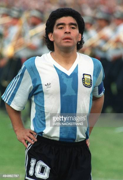 Portrait of Argentinian midfielder Diego Maradona taken 22 May 1990 in RamatGan before the start of a friendly soccer match against Israel AFP...