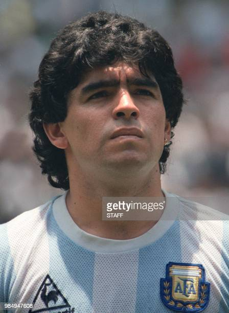Portrait of Argentinian midfielder Diego Maradona taken 29 June 1986 in Mexico City before the start of the World Cup final between Argentina and...