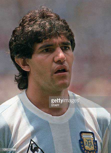 Portrait of Argentinian midfielder Jorge Burruchaga taken 29 June 1986 in Mexico City before the start of the World Cup final between Argentina and...