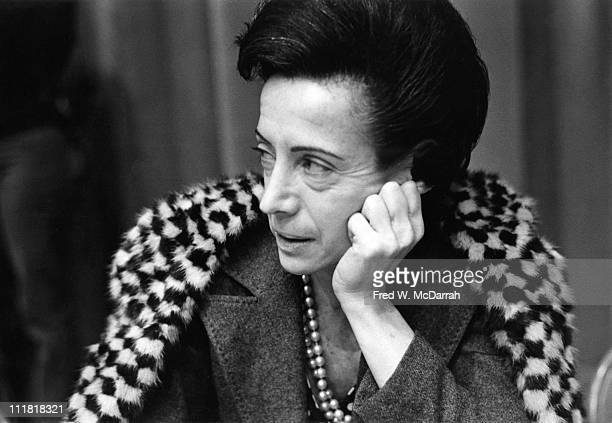 Portrait of art critic Grace Glueck as she sits chin in hand and listens during a Women in Media panel discussion New York New York December 6 1974