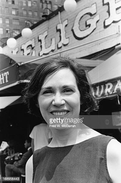 Portrait of art gallery owner Helen Gee as she poses in front of the Limelight her combined coffee house and photography gallery New York New York...