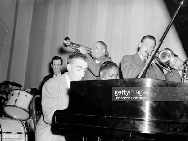 Portrait of Art Hodes, Henry Allen, Pete Johnson, Lou McGarity, and Lester Young, National Press Club, Washington, D.C., ca. 1940,