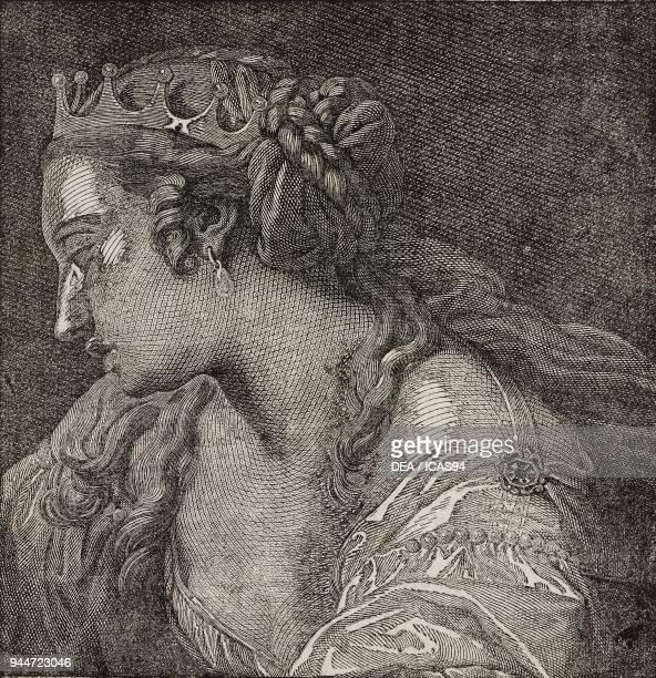 Portrait of Artemisia of Caria sovereign of ancient Greece illustration from Teatro universale Raccolta enciclopedica e scenografica No 529 August 31...
