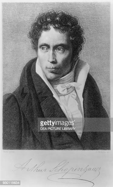 Portrait of Arthur Schopenhauer German philosopher engraving after a painting by Ludwig Sigismund Ruhl