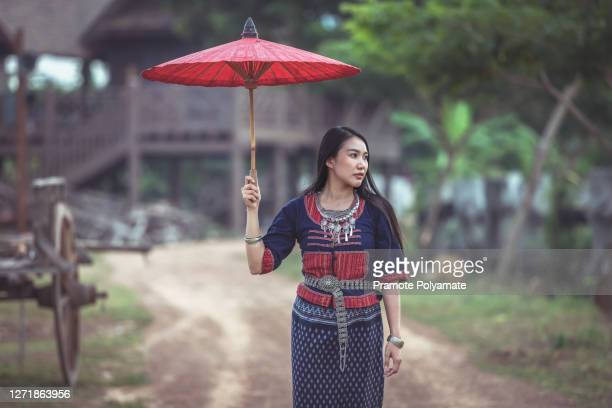portrait of asian beautiful woman new generation in thai traditional costume - new generation stock pictures, royalty-free photos & images