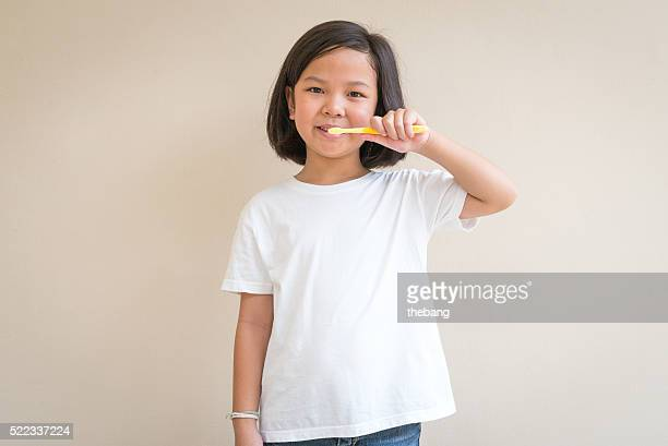 Portrait of asian girl smiling for inspiration concept ideas.