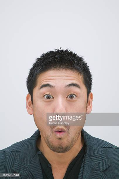 Portrait of  Asian man with surprised expressman