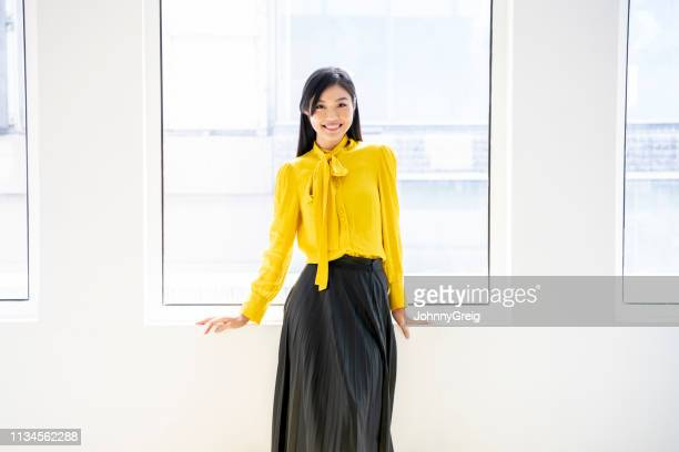 portrait of asian woman in her 30s in smart outfit - blouse stock pictures, royalty-free photos & images