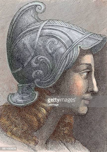 Portrait of Aspasia of Miletus mistress of athenian stateman Pericles and hetaira Engraving Private collection