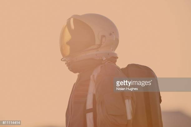portrait of astronaut on mars - mars stock pictures, royalty-free photos & images