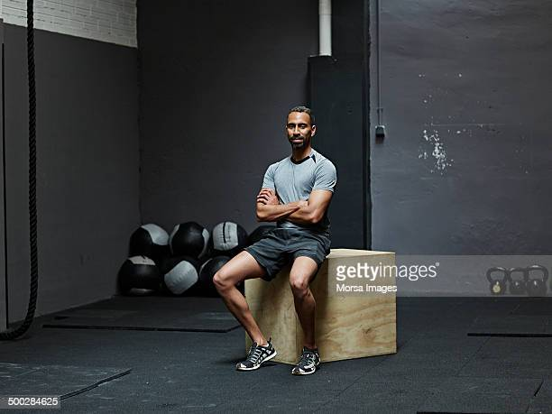 Portrait of athlete looking at camera