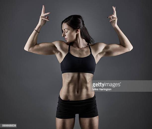 Portrait of athletic female bodybuilder.