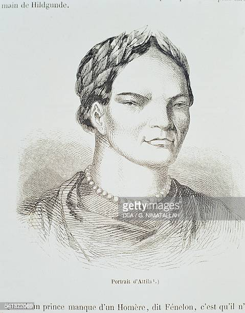 Portrait of Attila king of the Huns engraving 5th century AD
