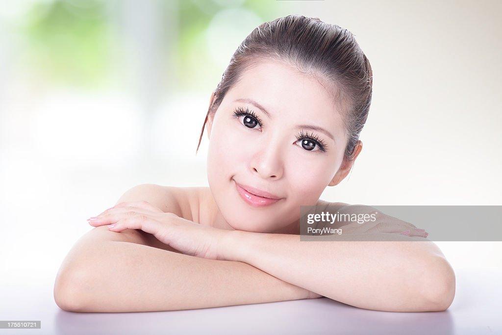 portrait of attractive woman smile : Stock Photo