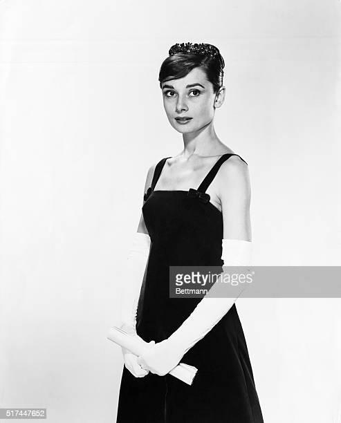 Portrait of Audrey Hepburn in an evening gown.