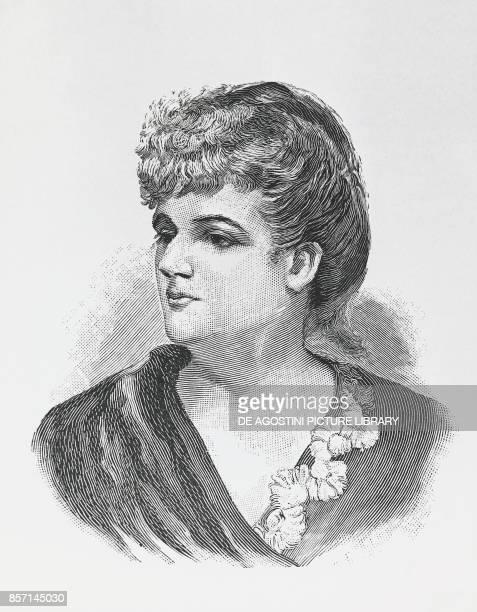 Portrait of Augusta Holmes pupil of Belgian composer Cesar Franck engraving