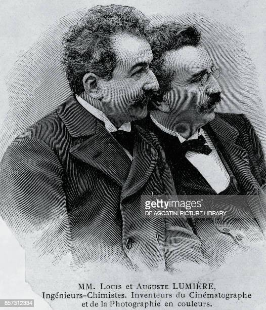 Portrait of Auguste Marie Louis Nicolas Lumiere and Louis Jean Lumiere French entrepreneurs and inventors of the film projector engraving from a...
