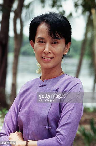 Portrait of Aung San Suu Kyi who was under house arrest in Rangoon Burma until her release in 1995 She won the Nobel Peace Prize in 1991