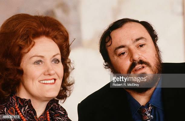 Portrait of Australian coloratura soprano Joan Sutherland and Italian tenor Luciano Pavarotti at Lincoln Center January 22 1979