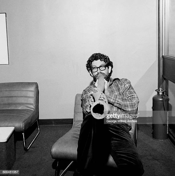 Portrait of Australianborn British entertainer Rolf Harris as he plays a didgeridoo London England July 1974