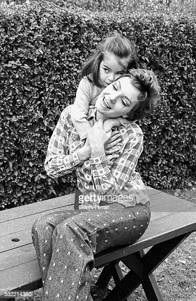 Portrait of Austrian actress Maria Perschy and her daughter during a photo shoot outside their home in Mirasierra Madrid Spain 1971