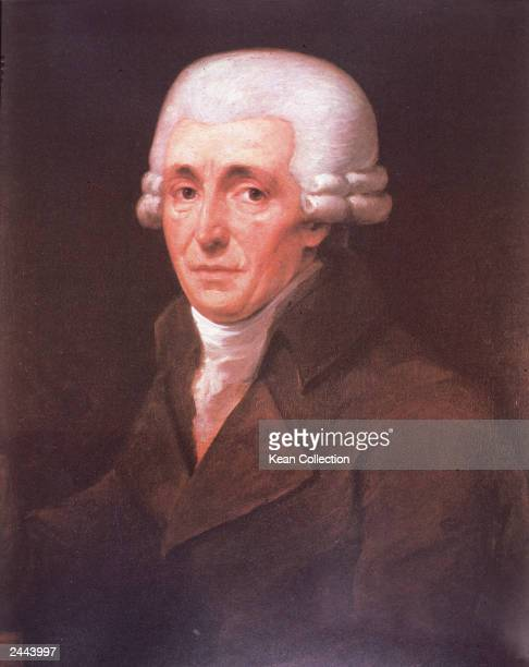 Portrait of Austrian composer Franz Joseph Haydn at age 67 1799 Painting by JC Roesler in Vienna