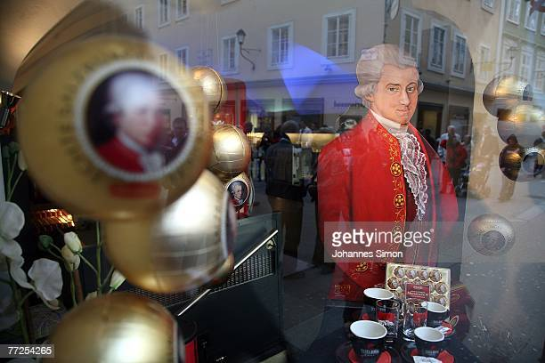 A portrait of Austrian Composer Wolfgang Amadeus Mozart is seen in the display of a candy shop on October 10 2007 in Salzburg Austria Salzburg will...