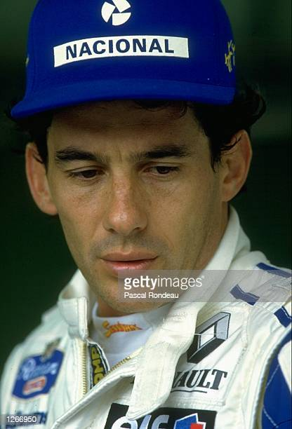 Portrait of Ayrton Senna of Brazil before the Brazilian Grand Prix at the Interlagos circuit in Sao Paulo Brazil Senna retired from the race after...