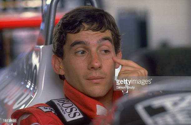 Portrait of Ayrton Senna of Brazil in his McLaren Honda before the Brazilian Grand Prix at the Rio circuit in Brazil. Senna finished in 11th place. \...