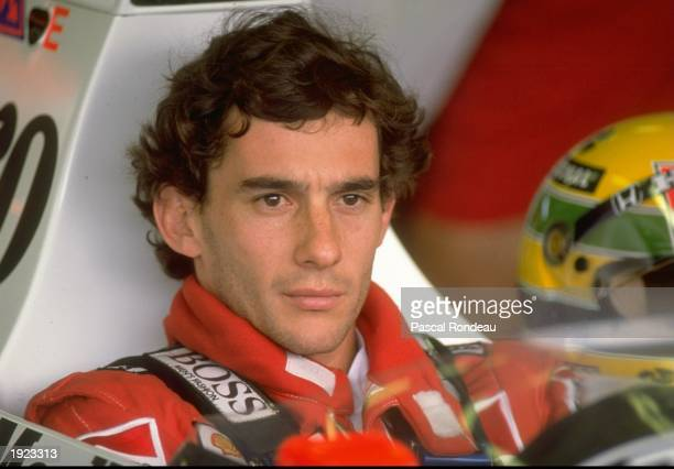 Portrait of Ayrton Senna of Brazil in his McLaren Honda before the Hungarian Grand Prix at the Hungaroring circuit in Budapest Hungary Senna finished...