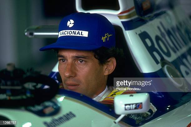 Portrait of Ayrton Senna of Brazil in his Williams Renault before the Brazilian Grand Prix at the Interlagos circuit in Sao Paulo Brazil Senna...