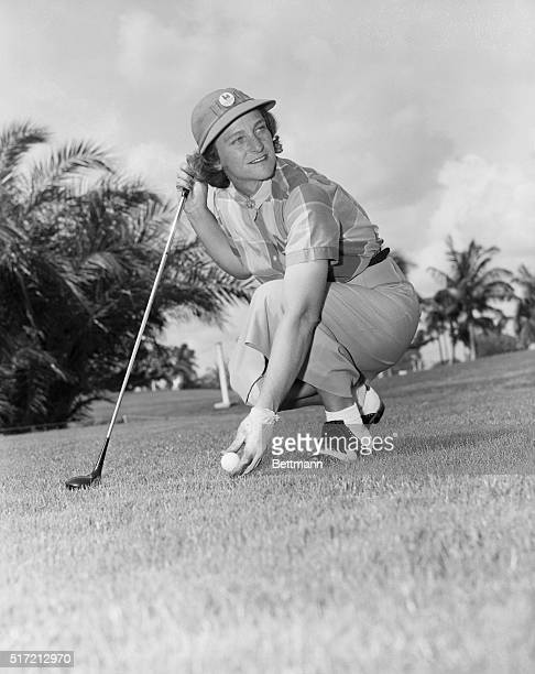 Portrait of Babe Zaharias, who won the Weathervane Tournament at the Normandy Isle Country Club today. Babe is shown here teeing up.