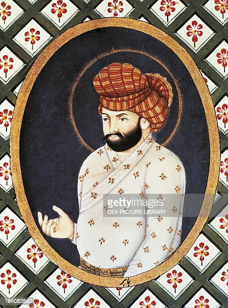 Portrait of Babur founder of the Mughal dynasty in India miniature 16th century Mughal school Berlino Dahlem Staatliche Museen Zu Berlin Museum Fur...