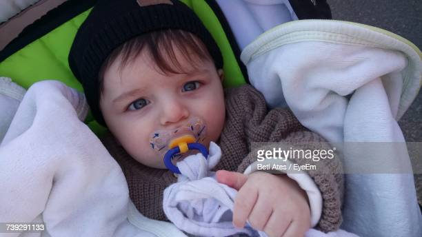 Portrait Of Baby Boy With Pacifier Relaxing In Stroller