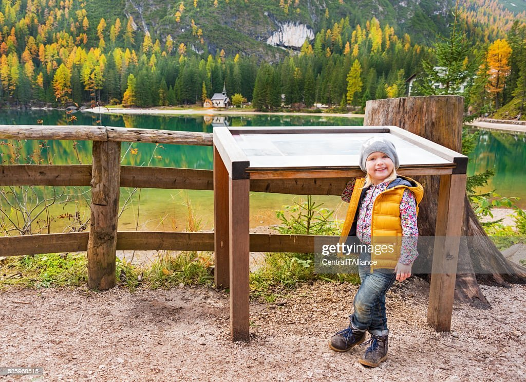 Portrait of baby on lake braies in south tyrol, italy : Stock Photo