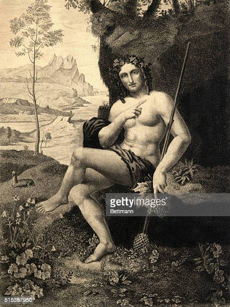 A portrait of Bacchus who is also known as Dionysus the god of wine