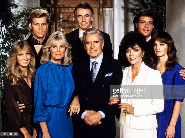 DYNASTY Season One 4/20/81 Pictured top row left Al Corley Lee Bergere John James bottom row left Heather Locklear Linda Evans John Forsythe Joan...