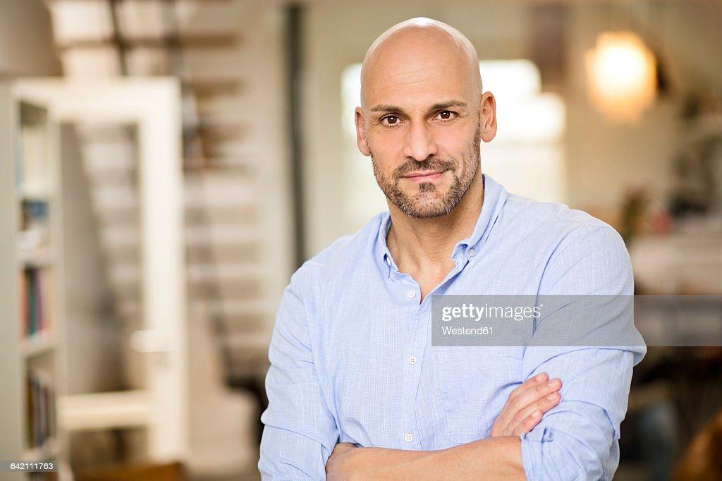 Portrait of bald man with beard : Stock Photo