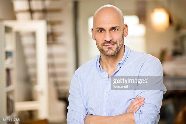 portrait of bald man with beard - hair loss stock pictures, royalty-free photos & images