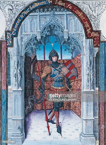 Portrait of Baldwin I , Count of Edessa, King of Jerusalem, brother of Godfrey of Bouillon, miniature taken from the manuscript Abrege' de la...
