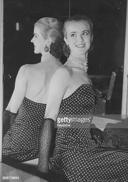 Portrait of ballet dancer ElsaMarianne Von Rosen wearing a polka dot evening gown with ruby and granite earrings whilst attending a dinner at the...